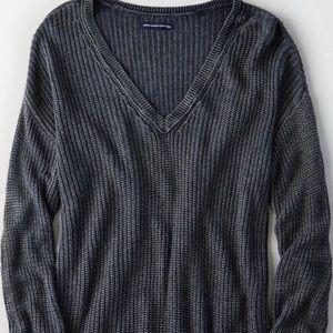 American Eagle Acid Wash V-neck sweater grey XS